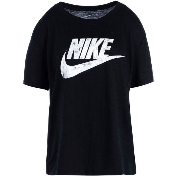 Nike T-shirt ($36) ❤ liked on Polyvore featuring tops, t-shirts, black, jersey t shirts, nike, jersey tee, polyester t shirts and jersey top
