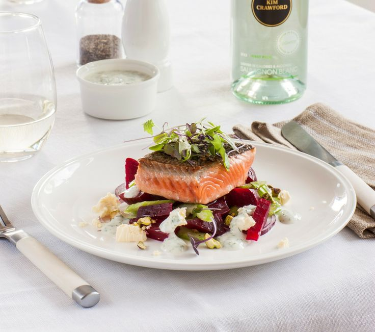 Crispy skin salmon with beetroot pistachio salad for King fish recipe