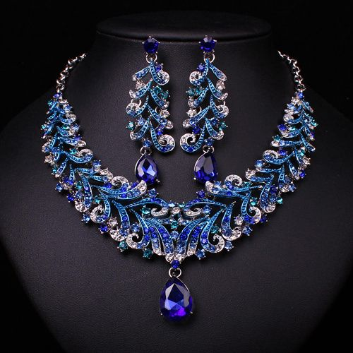 Fashion Indian Blue Rhinestone Indian Wedding Bridal Accessories Party Jewelry Set For Brides Necklace Earring Set Gift Women *** AliExpress Affiliate's buyable pin. Locate the offer on www.aliexpress.com simply by clicking the VISIT button