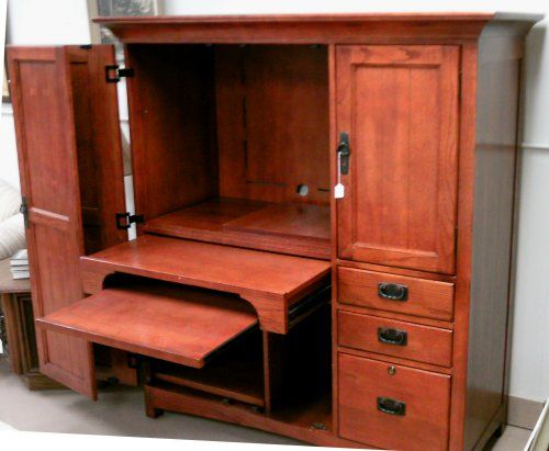 computer desk armoire open view