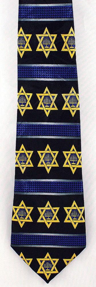 New Star of David Menorah Mens Necktie Jewish Hebrew Passover Religious Blue Tie #StevenHarris #NeckTie