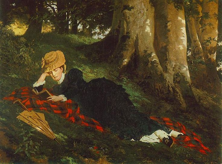 Benczur, Gyula - Reading Woman in the Forest (1875)