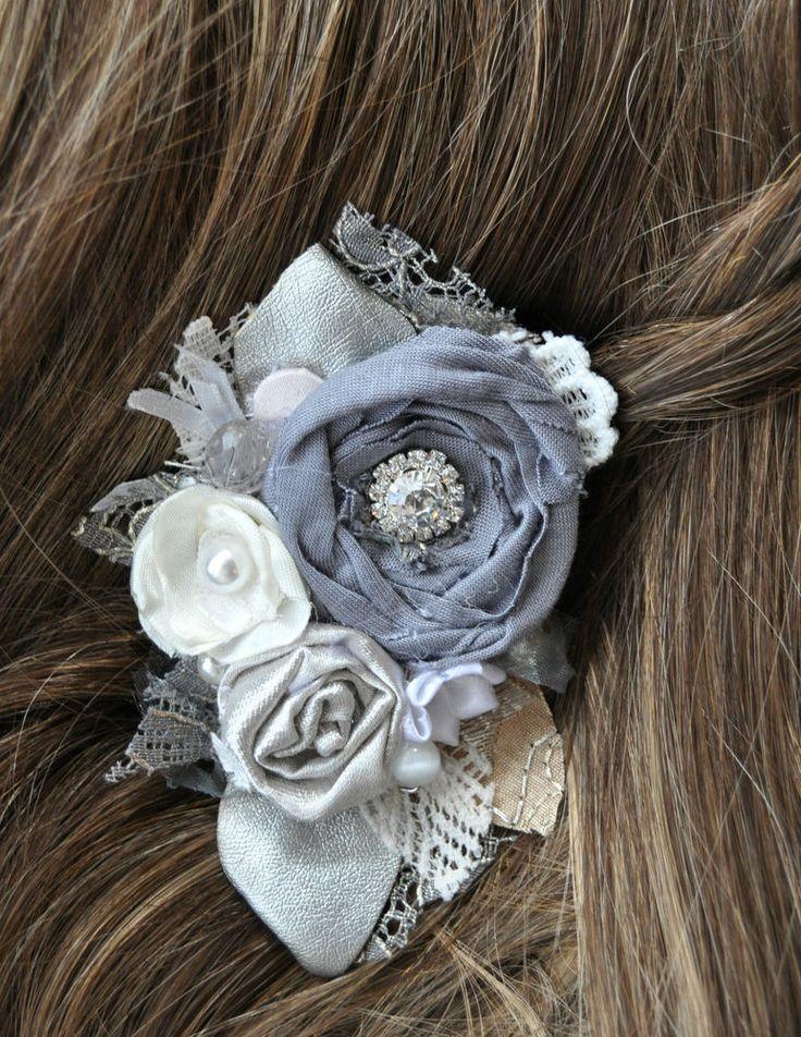 silk diamante white grey corsage brooch dress pin fascinator wedding bride 10 cm
