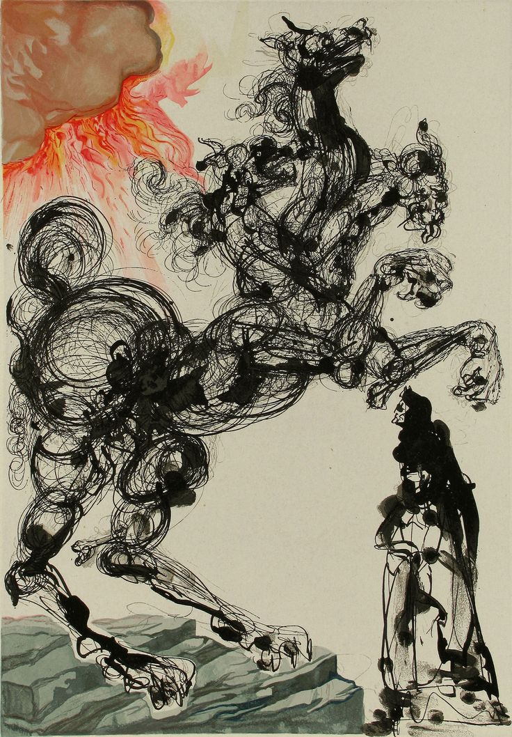 Salvador Dali, Hell Canto 6, Lithograph on Paper, Limited Edition