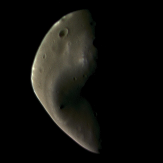 This image of Deimos is composed of four images taken by Viking Orbiter 2 on August 25, 1977 through red, green, violet, and clear filters. NASA / JPL / color composite by Emily Lakdawalla