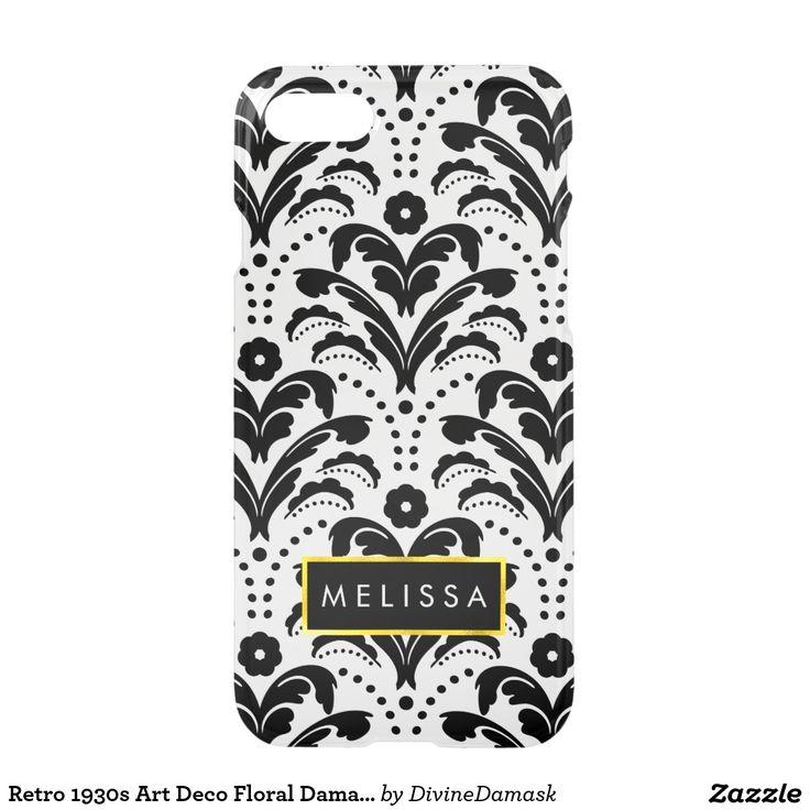 Retro 1930s Art Deco Floral Damask Pattern iPhone 7 Case