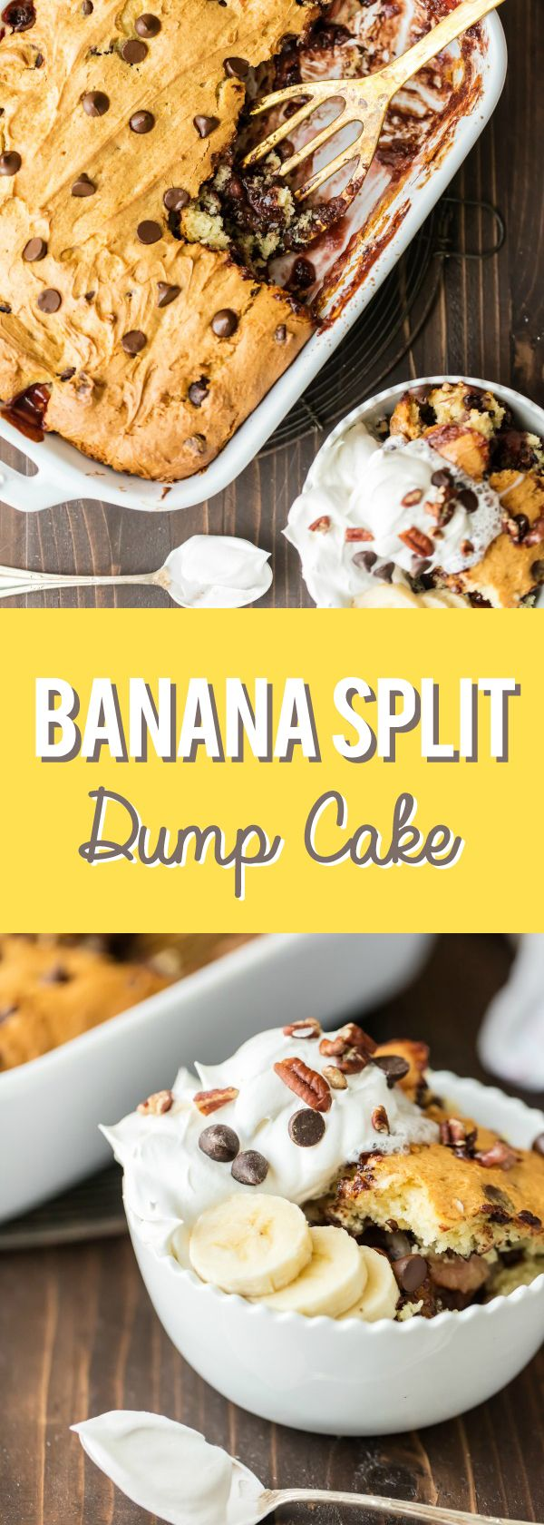 Banana Split Dump Cake couldn't be easier, or more delicious. This cake uses only 6 simple ingredients and comes together in minutes! from @bakingaddiction