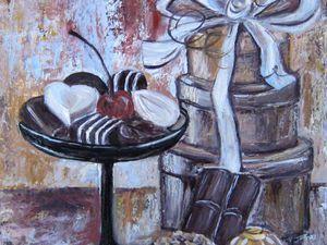 Здравствуйте, Друзья! Провожу АУКЦИОН!! Сегодня хочу предложить Вам приобрести картину 'Шоколад. Картина маслом' Картон, масло https://www.livemaster.ru/item/19755151-kartiny-i-panno-shokolad-kartina-maslom Стартовая цена 800 р. Минимальный шаг 50 руб Цена магазина 1700 руб. Размер кртины: 29,5х41см Ставки принимаются до 26.