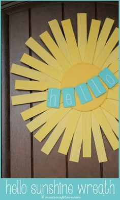 This Hello Sunshine Spring Wreath is the perfect door decoration to greet your guests!  via createcraftlove.com