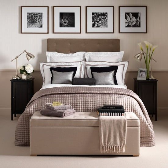 Boutique-hotel style  Create a boutique hotel-style bedroom with a few essential buys. Start with a soothing base colour on walls, such as a caramel or toffee shade, then add depth with hints of black and a few silver highlights.  Layer up pairs of cushions on the bed and frame a series of black and white photographic prints in square frames and hang above the bed for a polished finish.