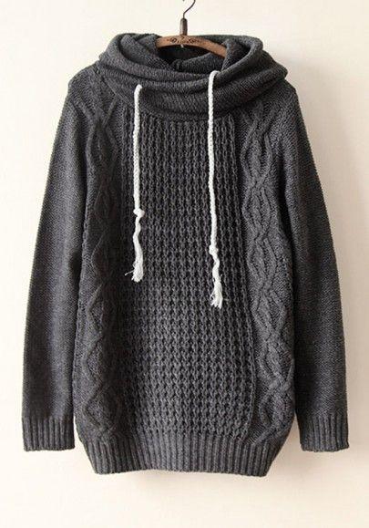 Grey Plain Lotus Collar Long Sleeve Acrylic Sweater.. this looks so cozy...