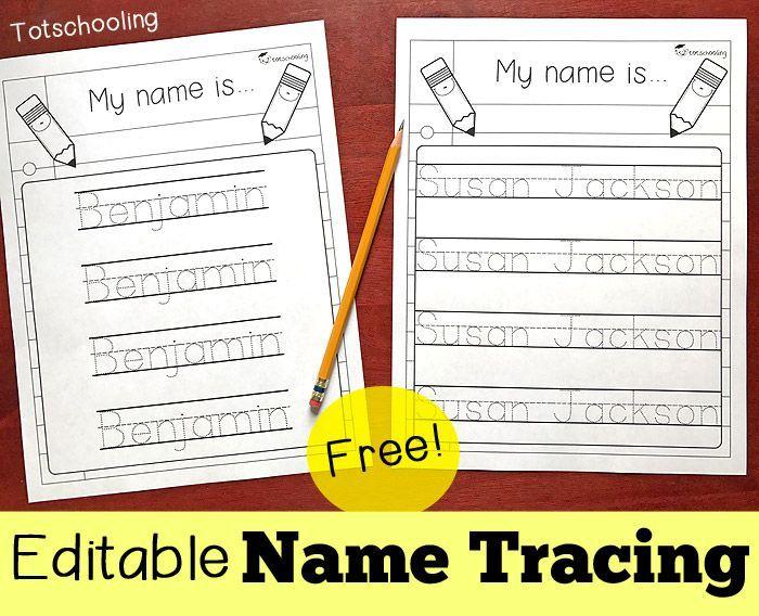 editable name tracing sheet