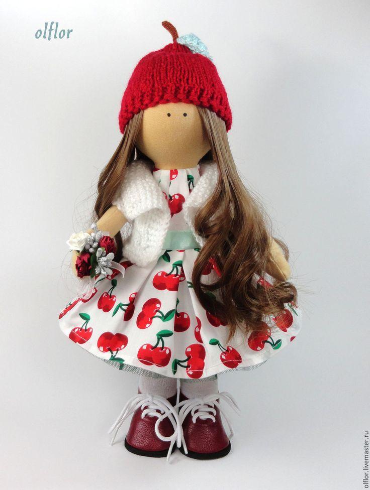 Купить Текстильная кукла Шерри - ярко-красный, текстильная кукла, вишенка, вишня, черешня, ягода