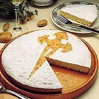 Spain =A traditional almond torte made in Santiago de Compostela, Very famous and very tasty dessert Receta de Tarta de Santiago