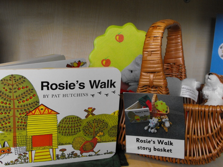 Rosie's Walk Story Basket- this would be nice on the bottom shelf of the book stand. Love the attached contents picture too.