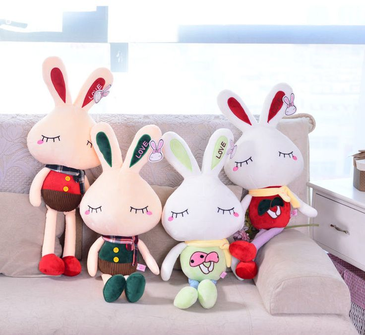 16 Inches Popular Multi-color Stuffed Plush Lovely Closed Eyes Rabbit Soft Toy #Handmade