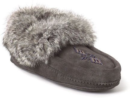 Mens Manitobah Mukluks Navy Beaded Suede Moccasin