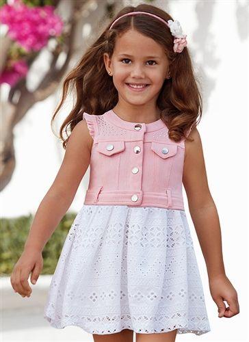 0cf20365460e Mayoral Kids - Girl Denim Eyelet Mix Dress in Pink | Little Princess ...