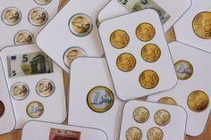 Un petit jeu de bataille pour s'entraîner à identifier les pièces de monnaie et quelques billets, et à les compter. Version PDF et Word - bataille monnaie.pdf - bataille monnaie.docx