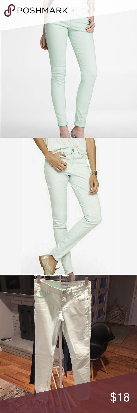 EXPRESS mint green jeans Great fit. Skinny leg. Great condition. Express Jeans Skinny