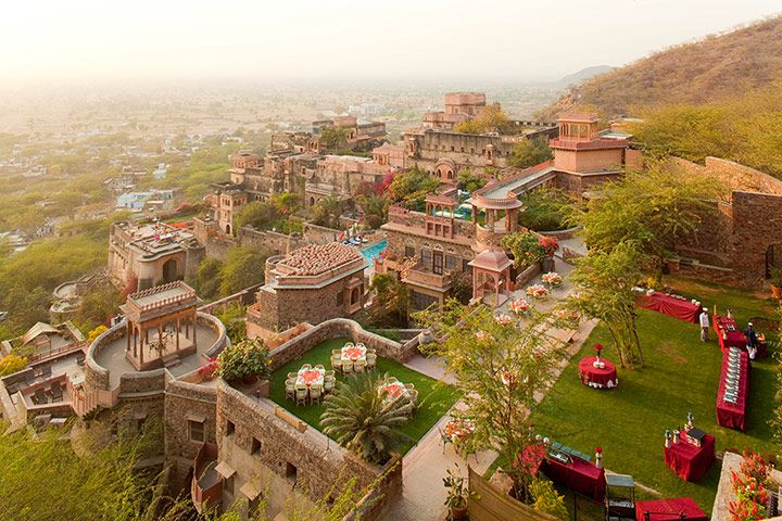 Neemrana Fort Palace, Alwar, near Delhi, India   The once-proud Neemrana Fort Palace, built in 1464, fell into decay after India's independence in 1947, but the ruins were acquired for restoration in 1986