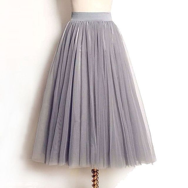 4 Layers Tulle Skirts Women Summer Elastic High Waist Ladies long mesh Skirt Womens Tutu Maxi Pleated Skirt midi Faldas Saias