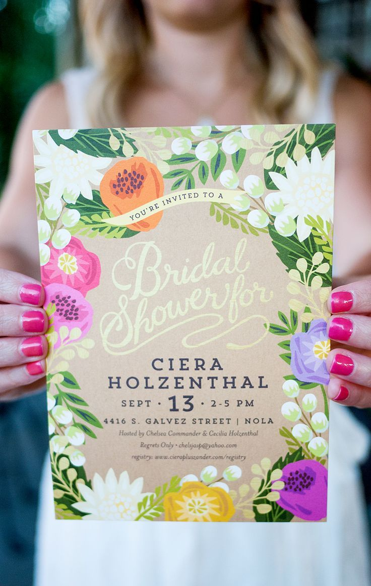 Love this tropical bridal shower full of bright colors and flowers! Featuring the Floral Canopy Invitation from Minted with pink, purple, yellow, orange, green and gold accents. Click through to find the sources!