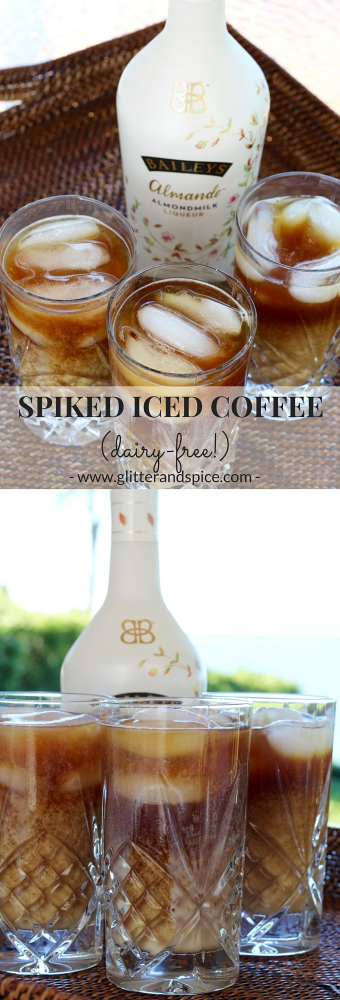 Spiked Iced Coffee - dairy free with Baileys Almande   Glitter & Spice