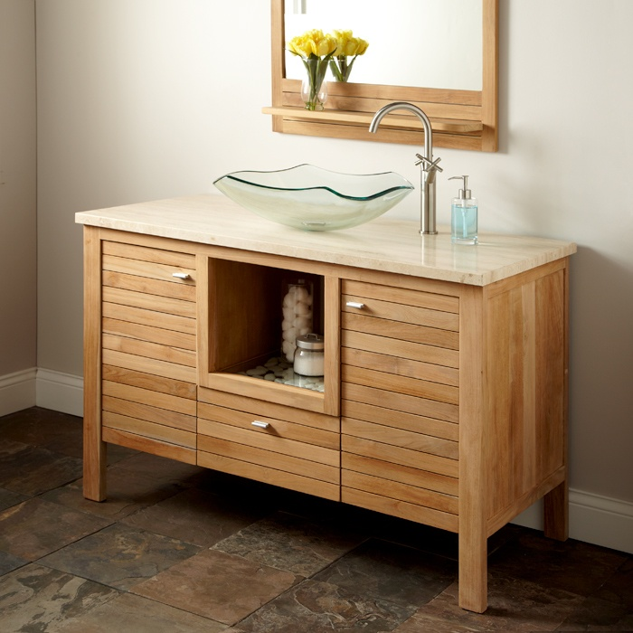 teak bathroom cabinet 48 quot payson teak vanity cabinet for vessel sink everyday 27118