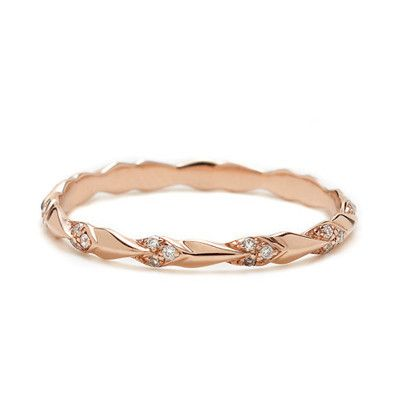 Art Deco-inspired rose gold pave wedding band by @Anna Sheffield