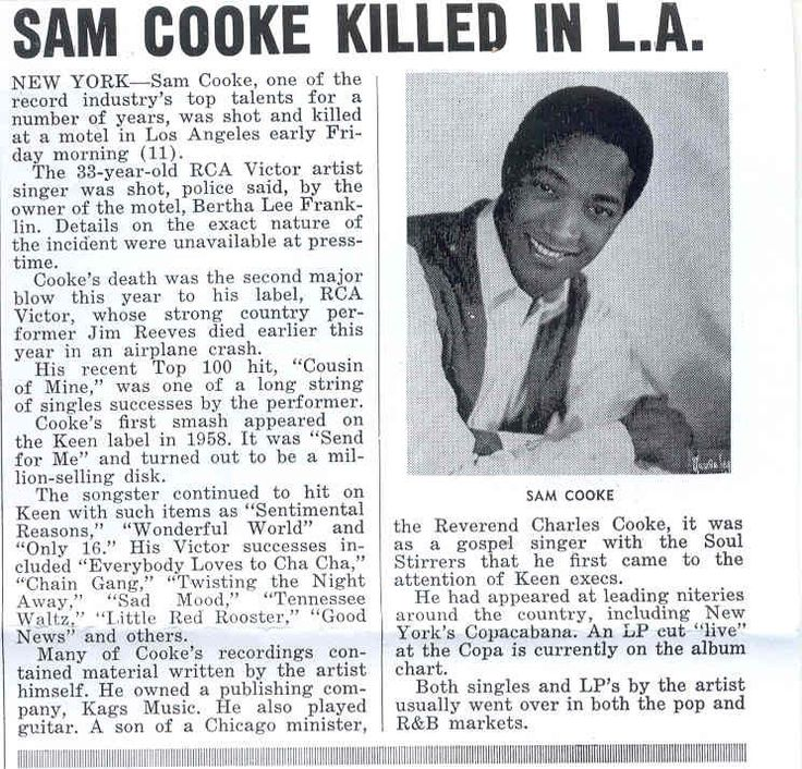 THIS DAY IN ROCK HISTORY: December 11, 1964: Sam Cooke is ...