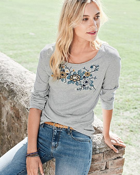 Multi-Embroidered Long-Sleeve Knit Top