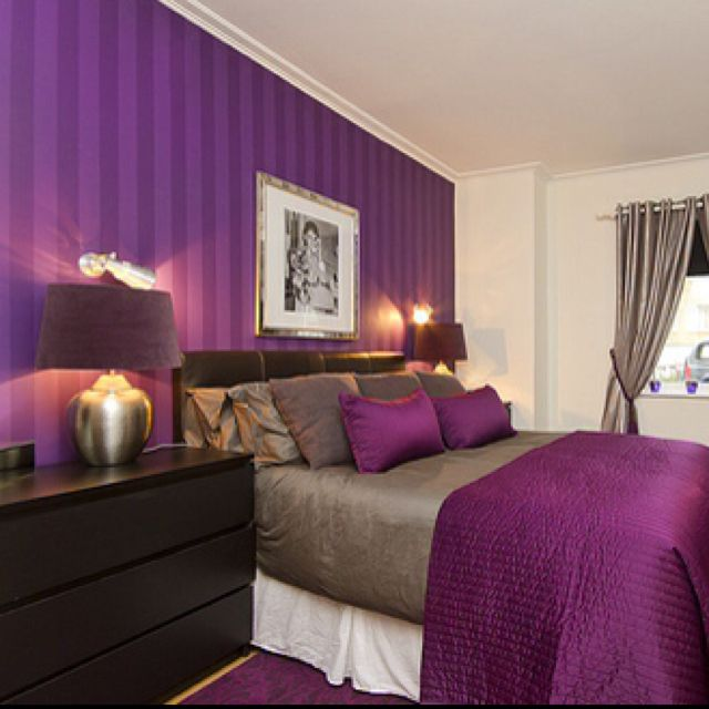 Black And White Color Scheme Bedroom Pink And Black Bedroom Wallpaper Two Bedroom Apartment Black And White Master Bedroom Designs: I Love The Purple Striped Wall