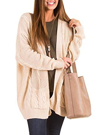 New AMAURAS S-4XL Women Cable Knit Open Front Loose Sweater Cardigan Casual  Coat Outerwear 82e21ce23