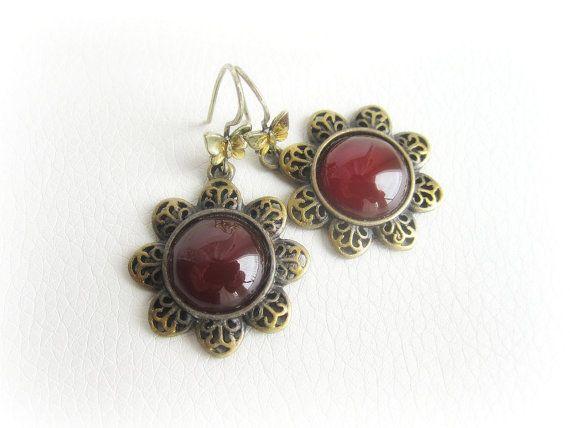 Carnelian earrings carnelian cabochon by MalinaCapricciosa on Etsy