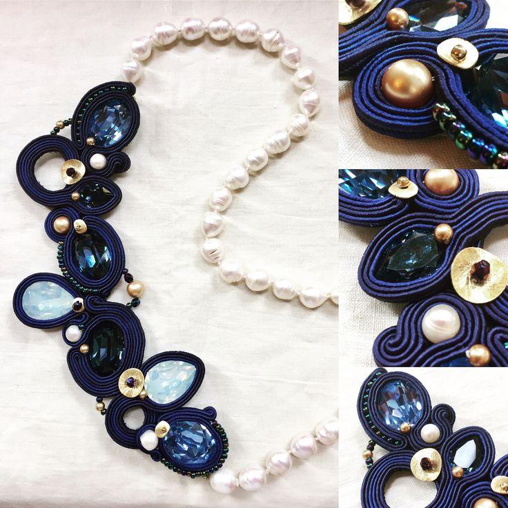 Collana in perle di fiume e soutache. Soutache and river pearls necklace. www.annodarte2013.blogspot.it