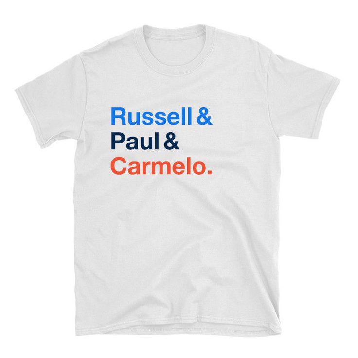 Russell and Paul and Carmelo Oklahoma City Blue, Orange & White Shirt #OklahomaCityThunder