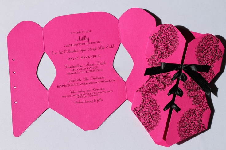 Lingerie Corset Bachelorette Party Invitations - Hot Pink and Black - 25 Count. $106.25, via Etsy.