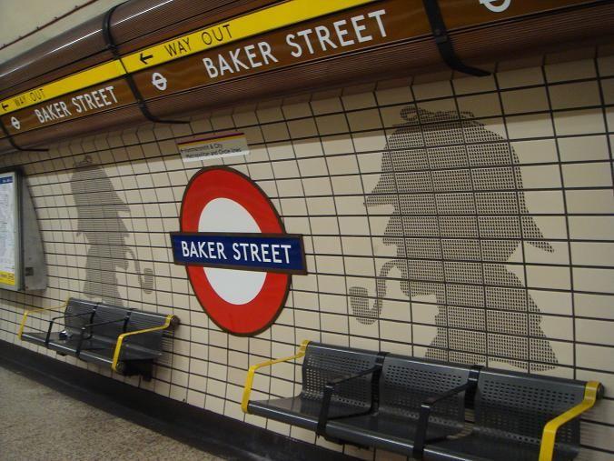 Baker Street tube station with Sherlock Holmes. - London -