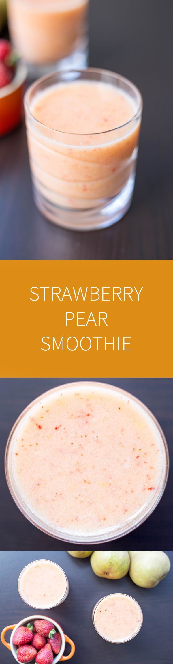 A summer fruit strawberry pear smoothie. This smoothie uses fresh summer fruits and juice instead of sugar for a healthy snack.