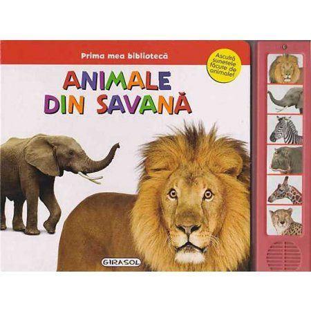 Animale din savanna - Varsta: 1+; Plina de infomatii si de culoare, cartea le vorbeste copiilor despre animalele care locuiesc in savata: leul, elefantul, zebra, girafa, hipopotamul sau ghepardul. Pagini fabricate din carton tare, cele sase butoane relateaza sunetele animalelor in mod realistic
