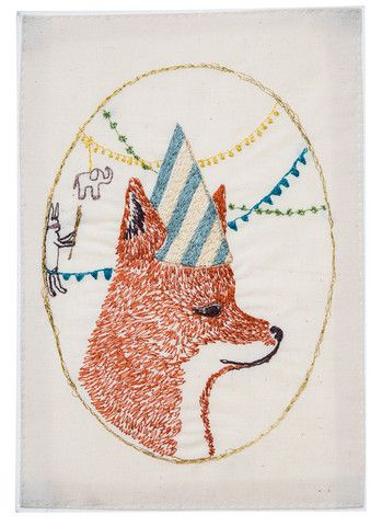 coral & tusk  birthday party fox embroidered stationery