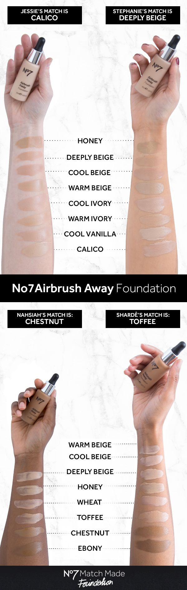 No7 Airbrush Away foundation contains advanced blurring technology to create a glowing finish, hiding the appearance of fine lines and pores. The remarkably light texture glides on with ease, leaving the skin looking even and natural. Get ready for your close-up!