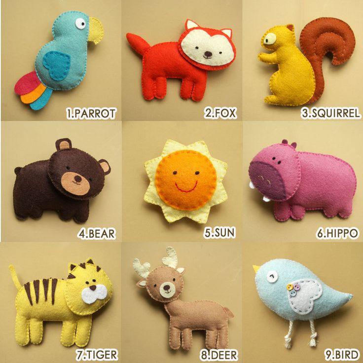 Felt Plush Toy or Ornaments  Girrafe Elephant Lion by Feltnjoy, $15.00