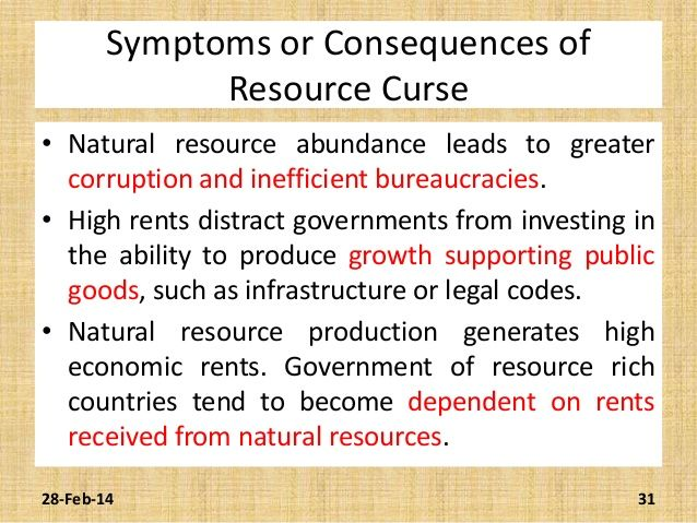 ... 31. Symptoms or Consequences of Resource Curse ...