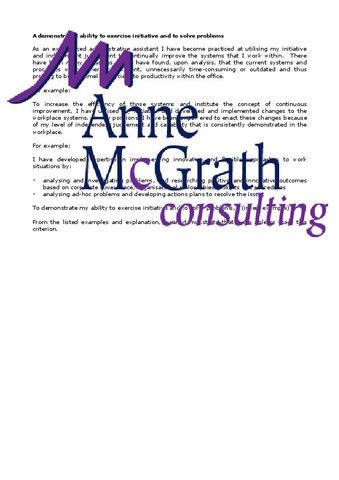 Admin - A demonstrated ability to exercise initiative and to solve pro – Professional Resumes @ Anne McGrath Consulting