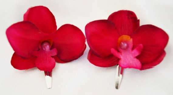 set of two fuscia pink orchid hair clips made with by LovelyDawn