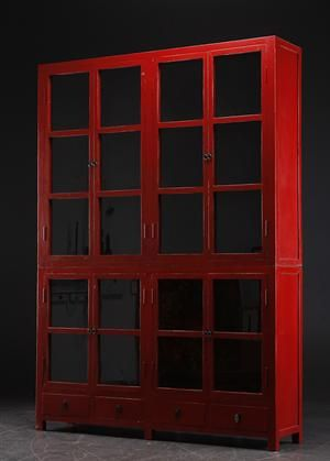 Large glass cabinet, red-varnished antiqued wood from Lauritz