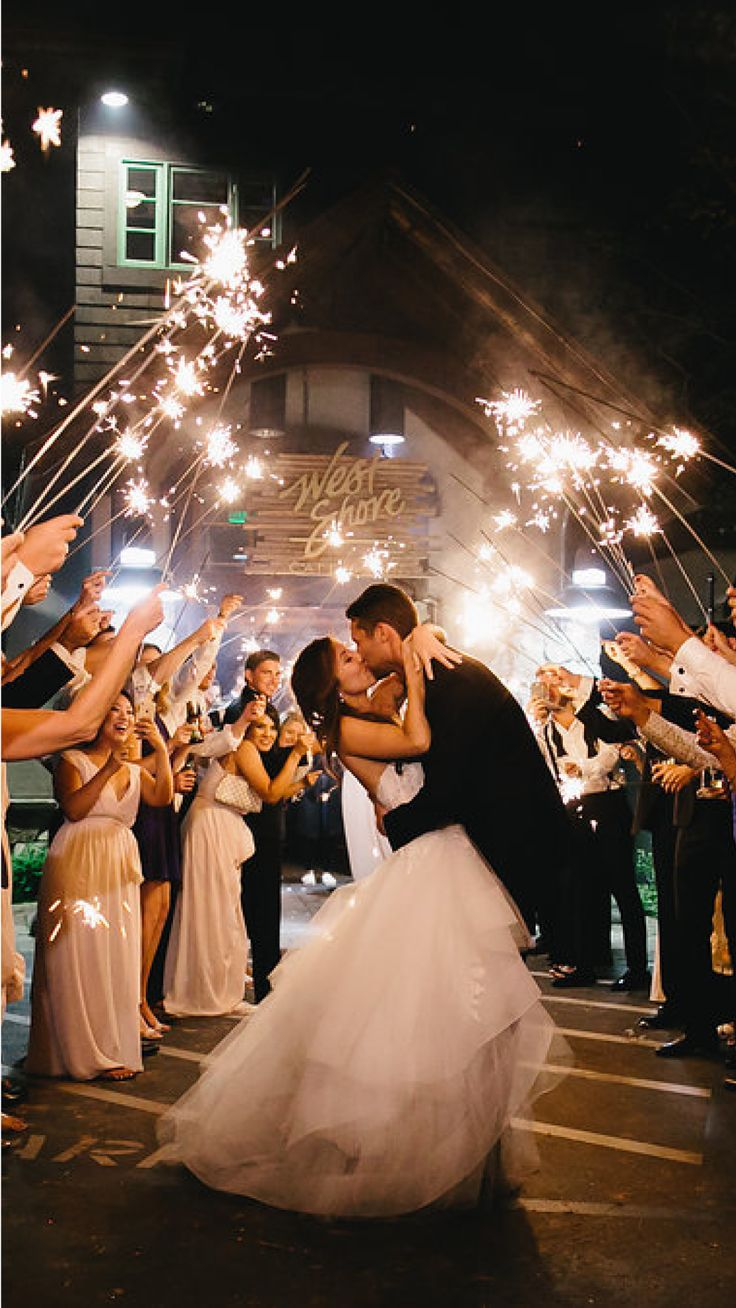 Magical sparkler wedding send off