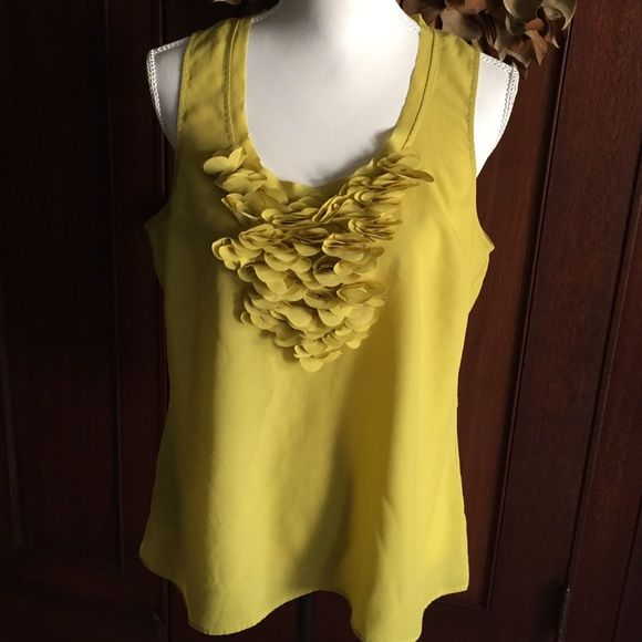 B2G1 FREE  Yellow sleeveless blouse W ruffle Yellow sleeveless blouse w floral ruffle detai New York & Company Tops